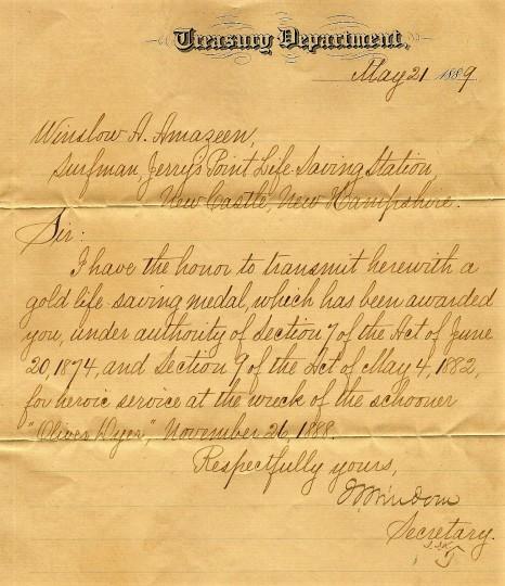 Winslow Amazeen Letter