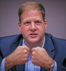 Chris Sununu at the Monitor editorial board.